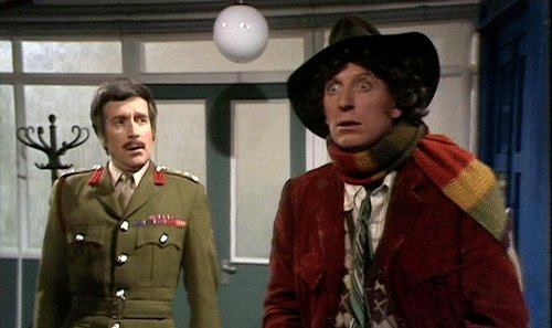 Nicholas Courtney and Tom Baker in 'Robot'